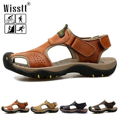 Fisherman Sports Mens Closed Toe Leather Hiking Sandals Casual Water Beach Shoes