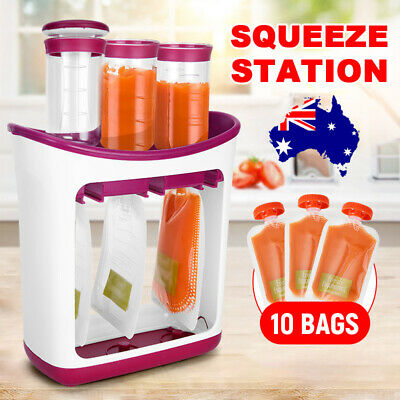 New Infant Baby Food Feeding Station Pouch Maker Homemade Fresh Squeeze Storage