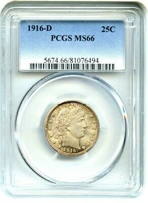 1916-D Barber 25c PCGS MS66 - barber Quarter