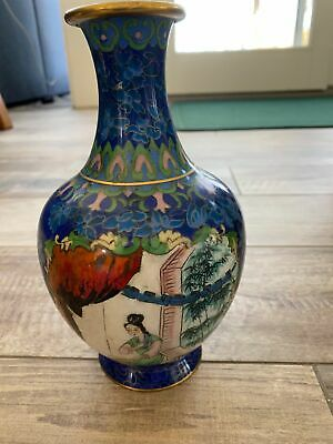 Vintage Chinese Cloisonne Vase Enamel Floral Design Brass Royal Blue ladies