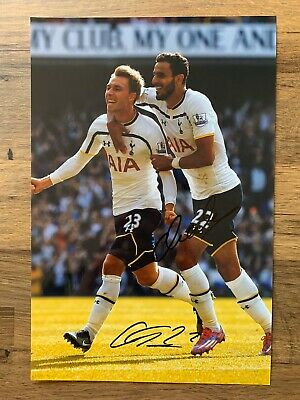 CHRISTIAN ERIKSEN & NACER CHADLI - Hand Signed 12x8 Photo - Spurs - Football