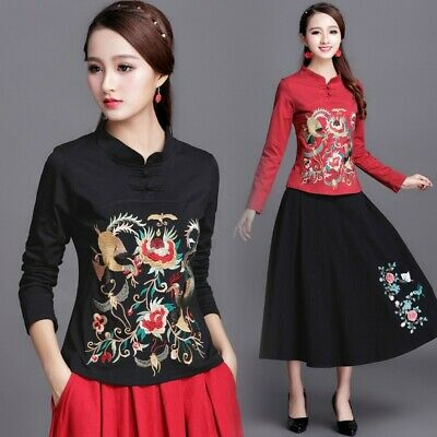 Ethnic Style Women's Embroidery Stand Collar Long Sleeve Tops Spring New jy00