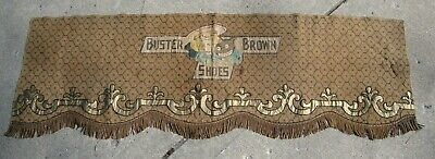 1900s Buster Brown Shoes Advertising Tapestry Window or Table Covering Fringe
