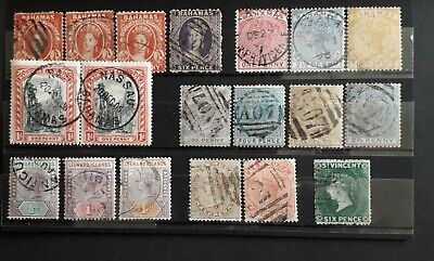 British Caribbean Qv Used All Different On 6 Stock  Cards  (Dj122)