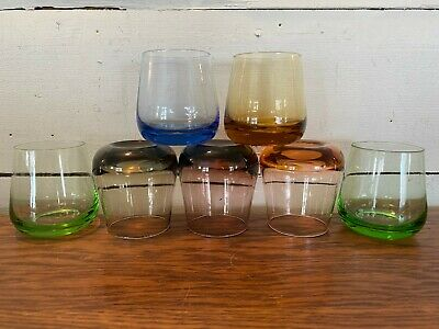 Lot of 7 Vintage Mulitcolor Bar Low Ball Juice Drinking Glasses Tumblers 3""