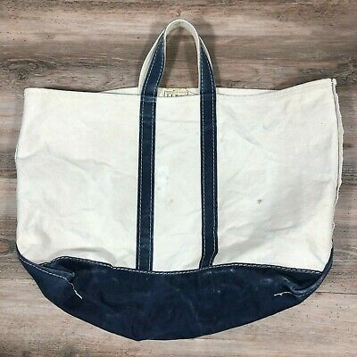 Vintage Cream White/Navy Blue Canvas L.L. Bean Boat &Tote Bag Distressed Faded