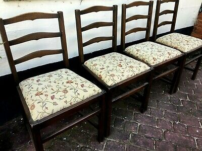 Set of 6 Solid Oak arts and crafts upholstered ladderback dining chairs Ercol