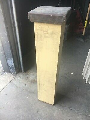 "c1890 heart pine newel post bannister column 37"" x 9"" x 7"" sq shaft cream color"