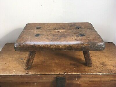 LOVELY OLD DECORATIVE 19th CENTURY WOODEN 4 LEGGED  STOOL  13.7 by 9 inches
