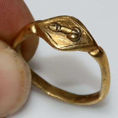 Scarce Roman Era Greek Gold Electrum Ring Depicting A Phallus Ca 50Bc-100 Ad