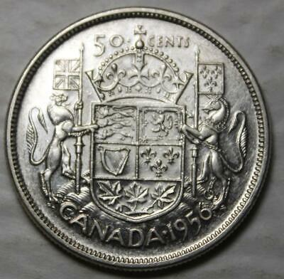 Canada 1956 Silver 50 Cents, Better Date