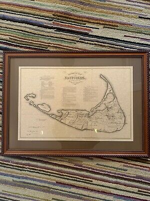 1869 Historical  Map Of Nantucket In Beautiful Wood Frame.