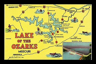 Dr Jim Stamps Us Lake Of The Ozarks Missouri Map View Postcard Ct American
