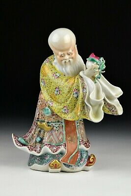 Signed Chinese Porcelain Famille Rose Statue of Shou Lao 19th Century