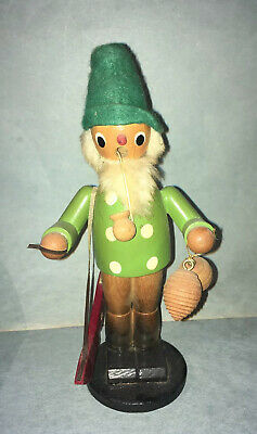 "9"" Vintage Wooden Incense Smoker Hunter Doll Great Condition"