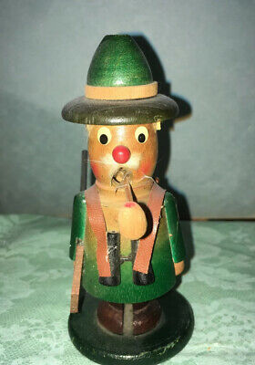 "5"" German Vintage Wooden Incense Smoker Hunter Doll Excellent Condition"