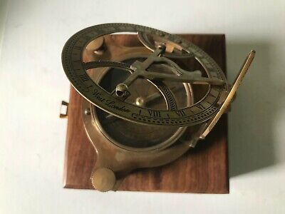 Solid Brass Large Sundial With Wood Box