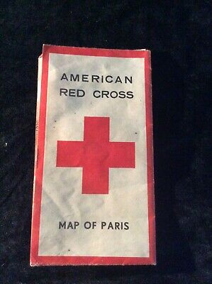Vintage WWII American Red Cross Map Of Paris, France 1940's Map For US Soldiers!
