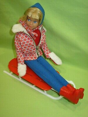 VINTAGE Barbie 1966 SKIPPER Fashion #1936 SLEDDING FUN Complete Outfit & Sled