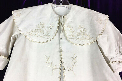 C 1900 Antique Baby Coat Linen Fancy Embroidery Wide Collar Doll