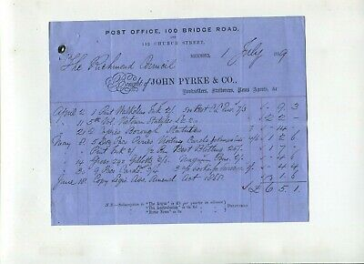 Letterhead  John Pyrke Booksellers Church Street Richmond 1869