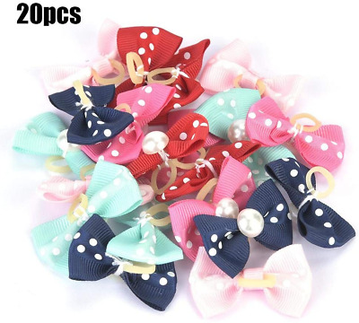 Pssopp 20Pcs Pet Bowknot Hair Rope Dog Cat Pearl Bow Rubber Bands Lovely Teddy