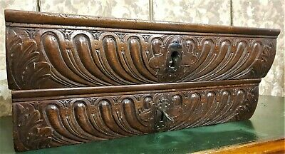 Pair gothic scroll leaves drawer Antique french wood carving salvaged furniture