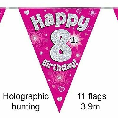 Happy 6th Birthday Holographic Triangular Party Foil Banner Bunting 6 Blue
