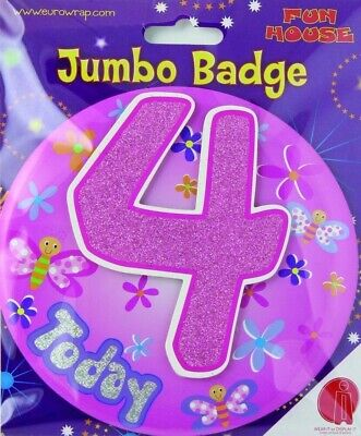 FunHouse Birthday Celebration Age 4 Today Girl Jumbo Badge Butterfly Design Pink