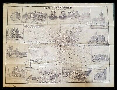 Historic and rare birds-eye view map of Abilene, Kansas 1895 - Lithograph WOW
