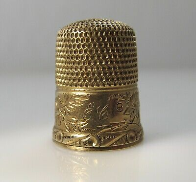 Vintage Antique 14K Yellow Gold Thimble Engraved Scene House Flowers