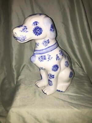 "Vintage Handpainted Chinese Porcelain Blue & White Large Dog 12"" Tall"