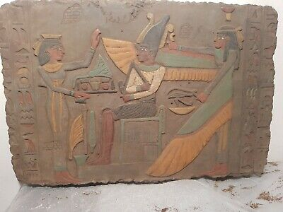 Rare Antique Ancient Egyptian Stela God Osiris Isis Hathor Book Dead 1850-1740BC