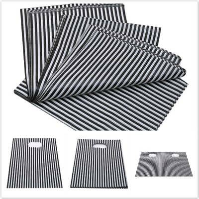 Plastic Black and White Striped Carrier Bag Jewellery Fashion Gift Shop Boutique