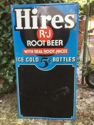 Antique Vintage US Hires Root Beer Bottle Menu Board Advertising Sign