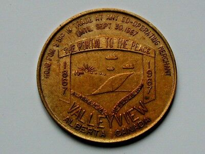 Valleyview AB CANADA 1867-1967 Centennial Trade DOLLAR Token with Low Mintage