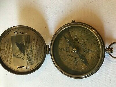Solid Brass Large Titanic Compass With Leather Case