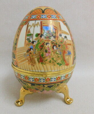 Contemporary large Chinese cloisonne porcelain egg trinket box famille rose gold