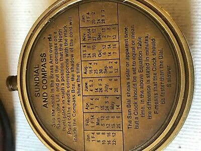 Solid Brass kelvin and Hughes small Sundial With leather case