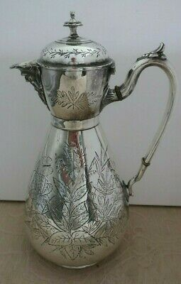 Antique SHAW & FISHER Sheffield England silver plated CLARET - WINE JUG engraved