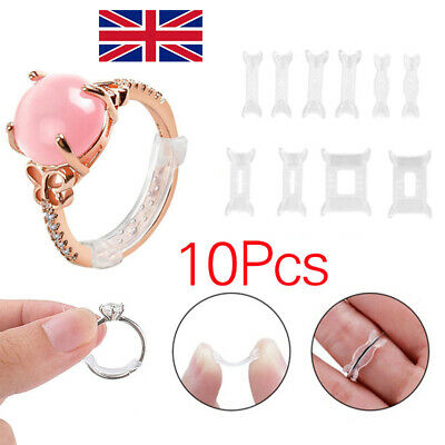 New 10Pcs Set Invisible Design Ring Size Clip Guard Resizer Adjuster Reducer TT