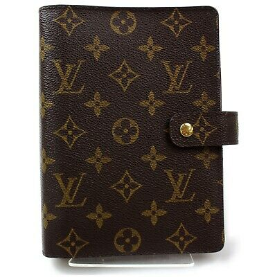 Authentic Louis Vuitton Diary Cover Agenda MM Browns Monogram 822782