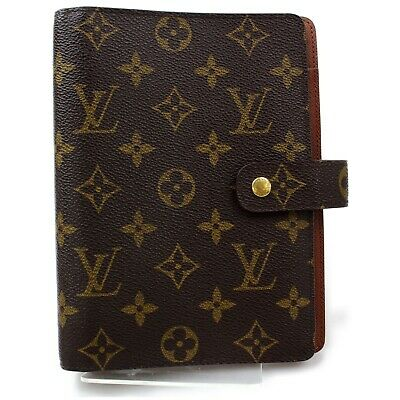 Authentic Louis Vuitton Diary Cover Agenda MM Browns Monogram 1109878