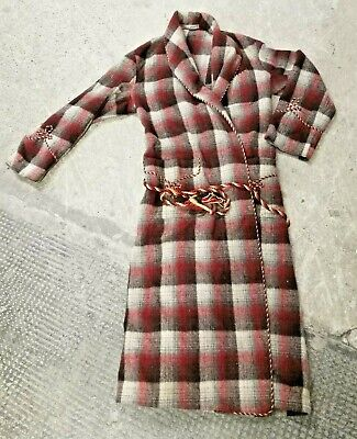 Vintage ~Buckingham ~Quality ~Traditional ~Wool Dressing Gown ~Red ~VGC SC18