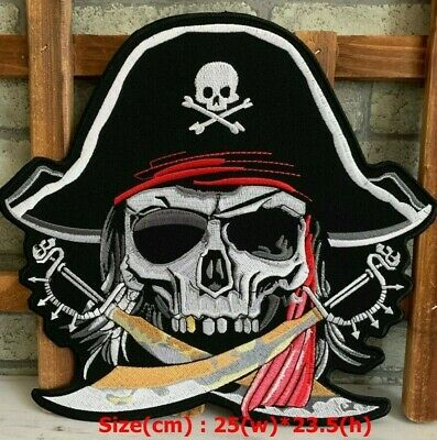 Sew On Patches Cool PIRATE Skull with White Back patch Embroidered Iron On