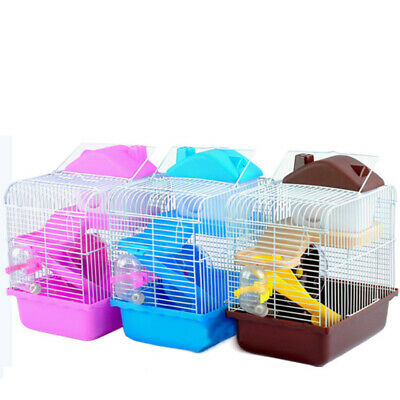 2 Tiers Hamster Cage Castle House Small Pet Gerbil Play Running Ladder Cages Fun