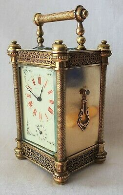 Carriage Alarm Clock Antique French Filigree Case Fully Working Rare