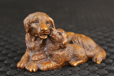 chinese rare boxwood hand carved lovely dogs statue collection table decoration