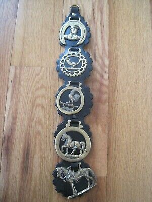 """Horse Brass Son 5 On Leather 20"""" GUC"""