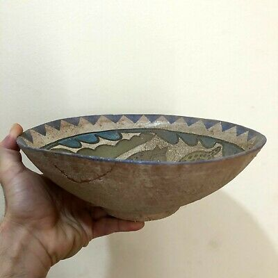 MUSEUM QUALITY BYZANTINE ERA NEAR EAST COLORED TERRACOTTA BOWL - 736gr